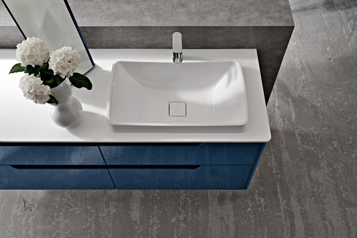 Ryo mobile bagno cerasa blu particolare lavabo - Mobile bagno blu ...