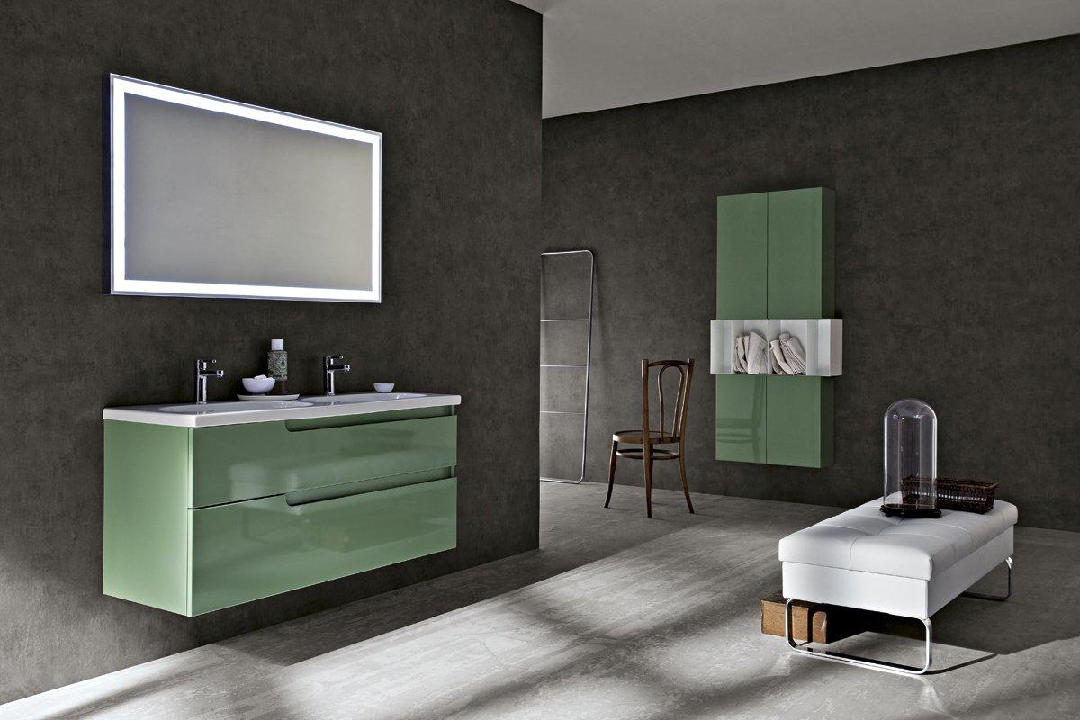 Ryo mobile bagno cerasa verde arredamenti papa a comerio for Arredo bagno piccoli spazi